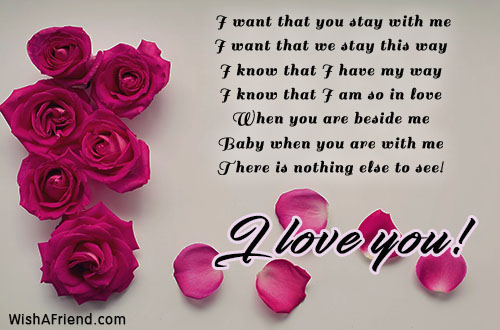 I Want That You Stay With I Love You Message