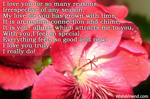 My Special One I Love You Poem