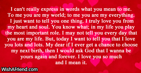 how much you mean to me letter i can t really express in words letters 22218 | 5749 short love letters
