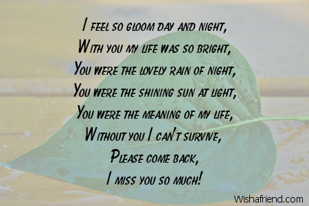 I Feel So Bad Missing You Poem