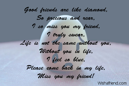 So rare you were , Missing You Friend Poem
