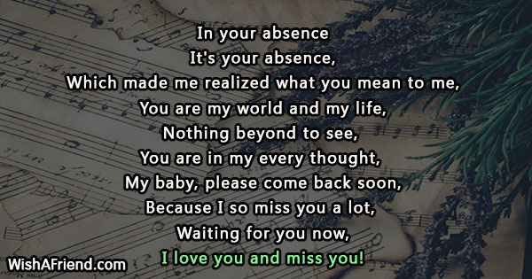 In Your Absence Missing You Poem For Wife