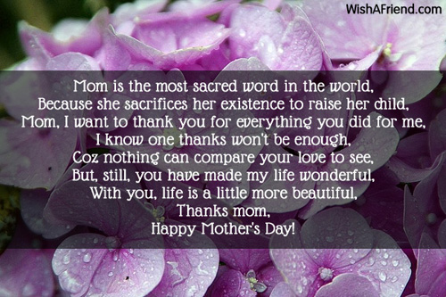The word is thanks mothers day poem 7629 mothers day poems altavistaventures Images