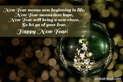 New Year means new beginning in, New Year Wishes