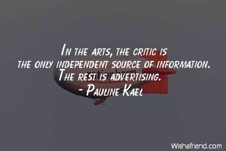 advertising-In the arts, the critic