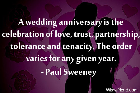 anniversary-A wedding anniversary is the