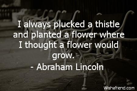 attitude-I always plucked a thistle