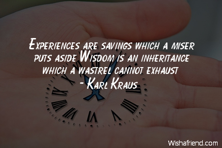 experience-Experiences are savings which a