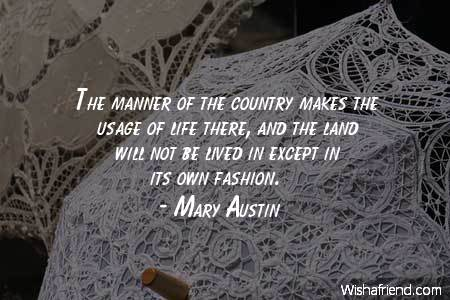 fashion-The manner of the country