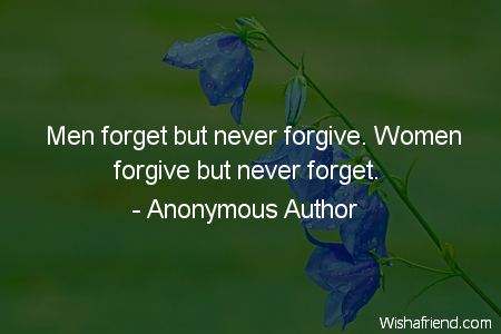 forgiveness-Men forget but never forgive.