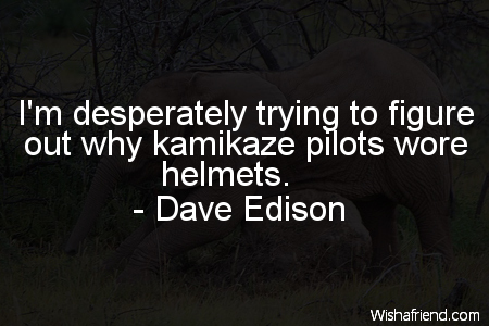 Dave Edison Quote Im Desperately Trying To Figure Out Why Kamikaze