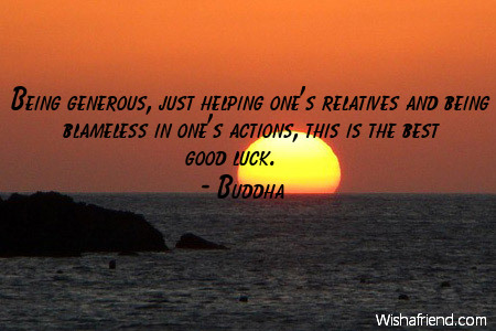 luck-Being generous, just helping one's