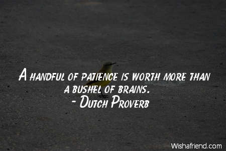 patience-A handful of patience is