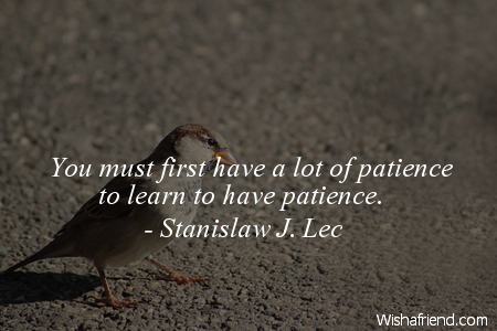 patience-You must first have a