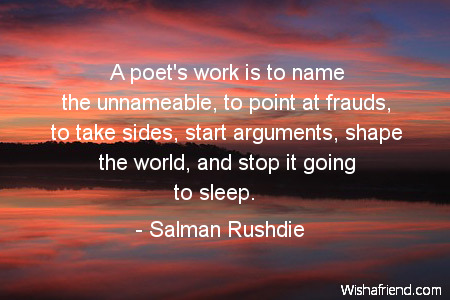 poetry-A poet's work is to