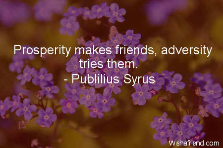 prosperity-Prosperity makes friends, adversity tries