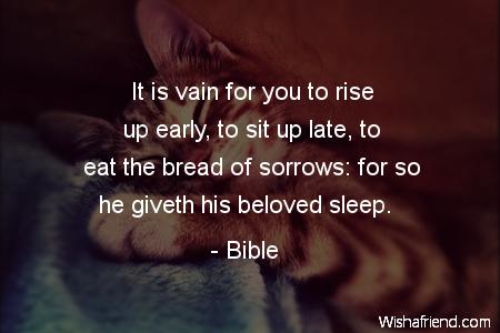 sleep-It is vain for you