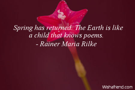 Spring has returned. The Earth, Rainer Maria Rilke Quote