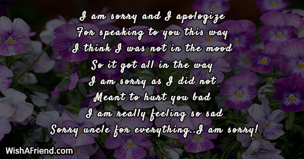 I Am Sorry Messages For Uncle