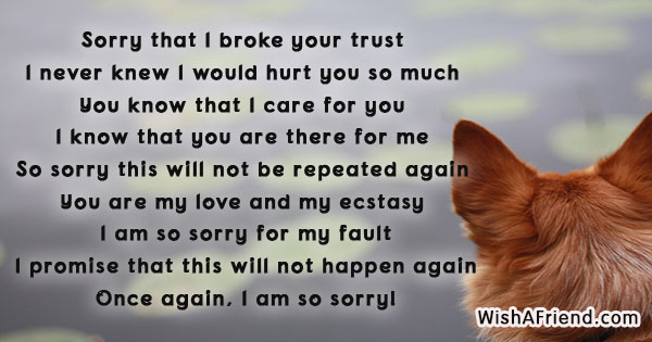 Sorry that I broke your trust, I Am Sorry Message For Wife