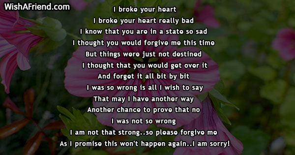I Broke Your Heart Sorry Poem For Him