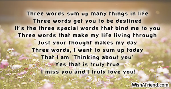 Three words sum up many things, Thinking Of You Message For Him