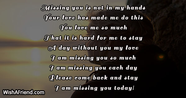 Missing you is not in my, Thinking Of You Message For Him