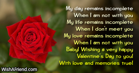 17636 valentines messages for girlfriend my day remains incomplete - Valentines Day Messages For Girlfriend