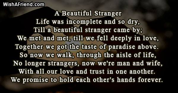 A Beautiful Stranger, Wedding Poem