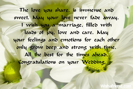 The Love You Share Is Immense Wedding Wishes