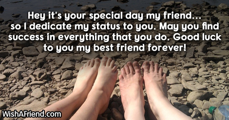 Hey it's your special day my, Whatsapp Status For Friends